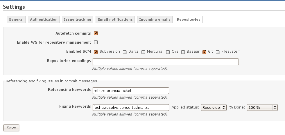 redmine - settings