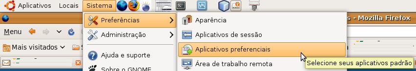 menu de aplicações